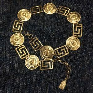 Vintage gold lion head pendant chain belt